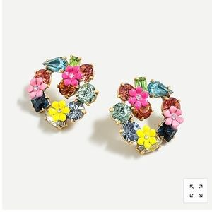 J. Crew Floral Crystals Stud Earrings